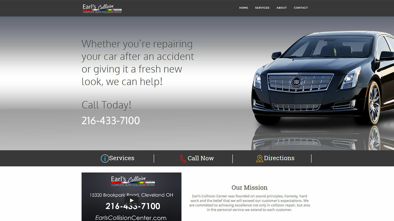 Earl's Collision Center Web Design - Parma Ohio