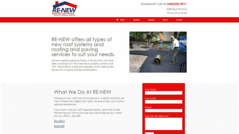 Re-New Roofing and Paving Web Design and Digital Markeitng, Parma Ohio